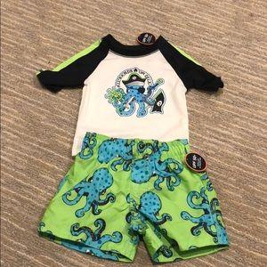 NWT Matching Swim Trunks and Rashguard, 6-9 months